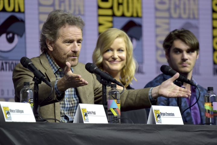 "Bryan Cranston, from left, Anna Gunn and RJ Mitte attend the ""Breaking Bad"" 10th Anniversary panel on day one of Comic-Con International on Thursday, July 19, 2018, in San Diego.(Photo by Richard Shotwell/Invision/AP)"