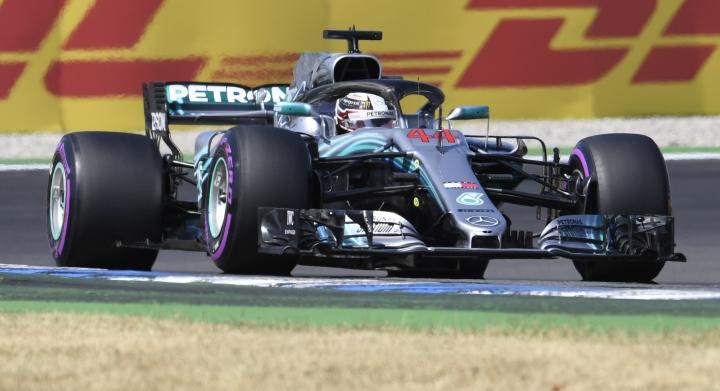 Mercedes driver Lewis Hamilton of Britain steers his car during the second free practice session, at the Hockenheimring racetrack in Hockenheim, Germany, Friday, July 20, 2018. The German Formula One Grand Prix will be held on Sunday, July 22, 2018. (AP Photo/Jens Meyer)