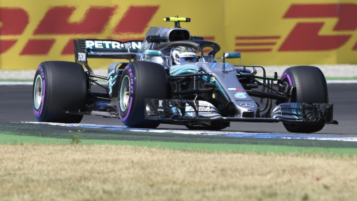 Mercedes driver Valtteri Bottas of Finland steers his car during the second free practice session, at the Hockenheimring racetrack in Hockenheim, Germany, Friday, July 20, 2018. The German Formula One Grand Prix will be held on Sunday, July 22, 2018. (AP Photo/Jens Meyer)