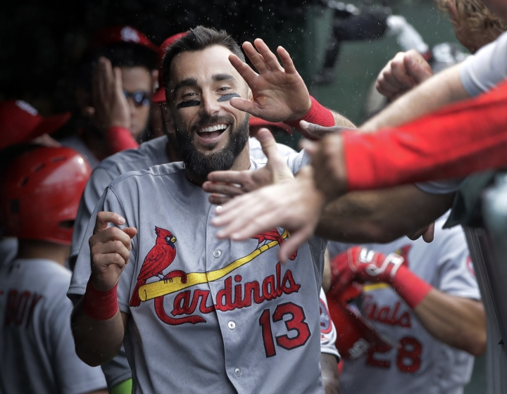 St. Louis Cardinals' Matt Carpenter celebrates his second home run of the game off Chicago Cubs starting pitcher Jon Lester during the second inning of a baseball game Friday, July 20, 2018, in Chicago. (AP Photo/Charles Rex Arbogast)