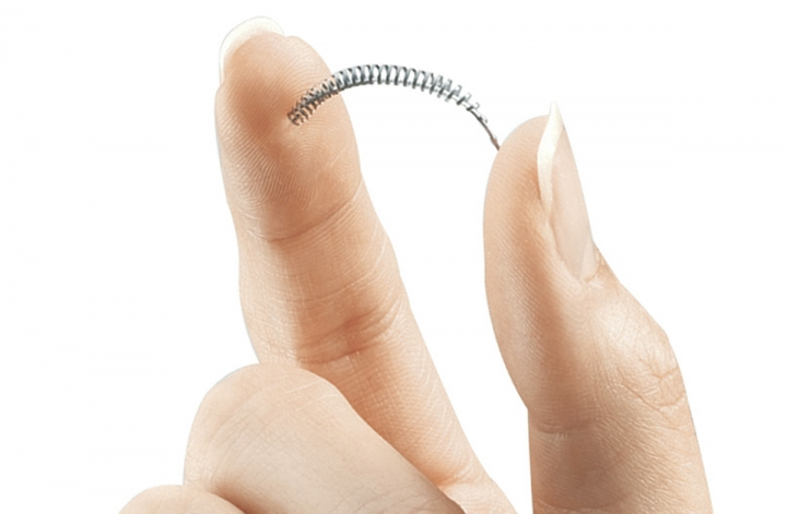 FILE - This image provided by Bayer Healthcare Pharmaceuticals shows the birth control implant Essure. On Friday, July 20, 2018, the maker of the permanent contraceptive implant subject to thousands of injury reports from women and repeated safety restrictions by U.S. regulators says it will stop selling the device at the end of the year due to weak sales. (Bayer Healthcare Pharmaceuticals via AP)