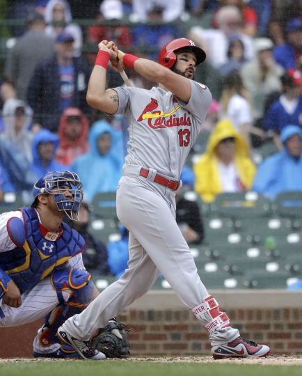 St. Louis Cardinals' Matt Carpenter, right, and Chicago Cubs catcher Willson Contreras watch Carpenter's second home run of the game off Jon Lester during the second inning of a baseball game Friday, July 20, 2018, in Chicago. (AP Photo/Charles Rex Arbogast)