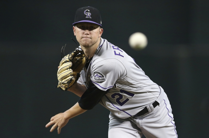 Colorado Rockies starting pitcher Kyle Freeland throws to an Arizona Diamondbacks batter during the first inning of a baseball game Saturday, July 21, 2018, in Phoenix. (AP Photo/Ralph Freso)