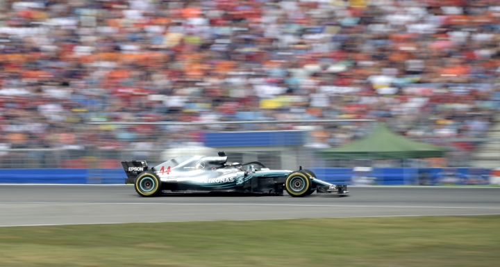Mercedes driver Lewis Hamilton of Britain steers his car during the German Formula One Grand Prix at the Hockenheimring racetrack in Hockenheim, Germany, Sunday, July 22, 2018. (AP Photo/Jens Meyer)