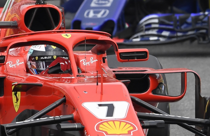 Ferrari driver Kimi Raikkonen of Finland steers his car during the German Formula One Grand Prix at the Hockenheimring racetrack in Hockenheim, Germany, Sunday, July 22, 2018. (AP Photo/Jens Meyer)