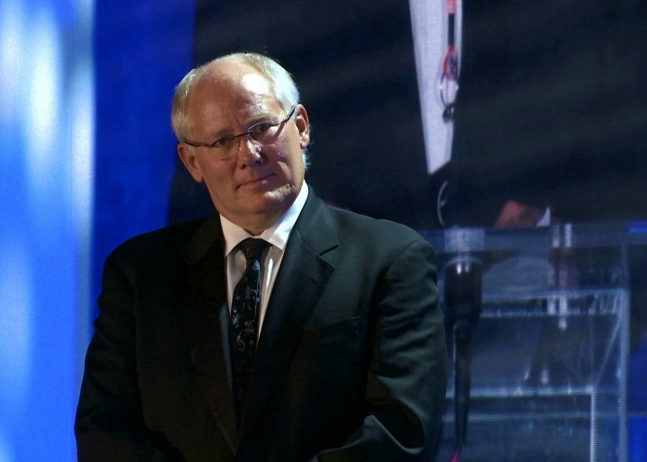 Andrew Aldrin, Apollo 11 astronaut Buzz Aldrin's son, attends the Apollo Celebration Gala at the Kennedy Space Center in Cape Canaveral, Fla., Saturday, July 21, 2018. The event kicked off a yearlong celebration of the upcoming 50-year anniversary of the first moon landing. (AP Photo/Alex Sanz)