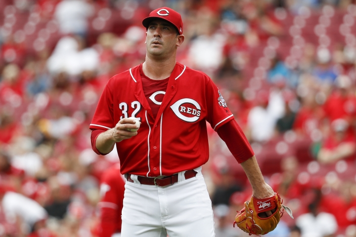 Cincinnati Reds starting pitcher Matt Harvey reacts after giving up a solo home run to Pittsburgh Pirates' Starling Marte in the second inning of a baseball game, Sunday, July 22, 2018, in Cincinnati. (AP Photo/John Minchillo)