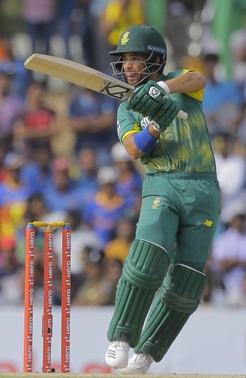 South Africa's Jean-Paul Duminy bats against Sri Lanka during their first one day international cricket match in Dambulla, Sri Lanka, Sunday, July 29, 2018. (AP Photo/Eranga Jayawardena)