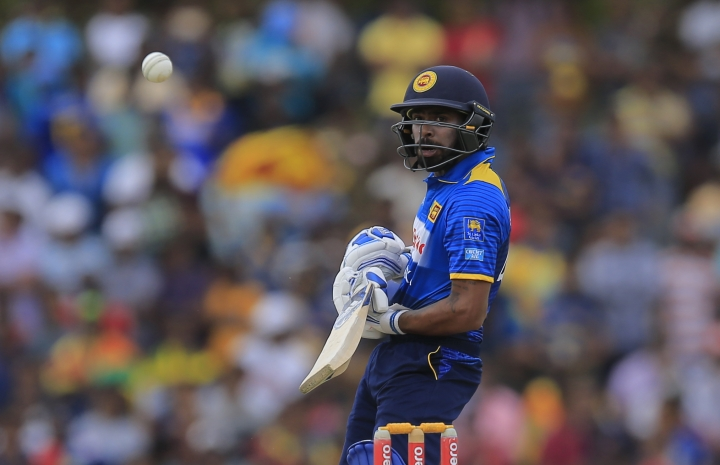 Sri Lanka's Niroshan Dickwella plays a shot against South Africa during their second one-day international cricket match in Dambulla, Sri Lanka, Wednesday, Aug. 1, 2018. (AP Photo/Eranga Jayawardena)