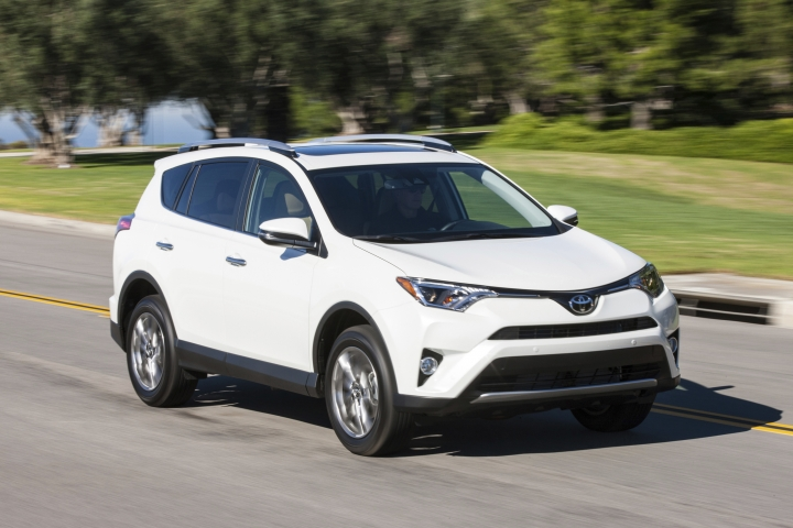 This photo provided by Toyota shows the 2016 Toyota RAV4, a fuel-sipping crossover that provides plenty of room for passengers and cargo. Its all-round competence gives it the edge over many rivals. (Courtesy of Toyota Motor Sales via AP)