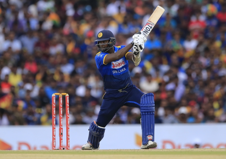 Sri Lanka's Angelo Mathews plays a shot against South Africa during their second one-day international cricket match in Dambulla, Sri Lanka, Wednesday, Aug. 1, 2018. (AP Photo/Eranga Jayawardena)
