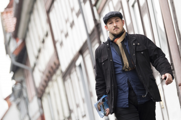 "In this Oct. 10, 2017 photo Lars Steinke, head of the Lower Saxony state youth wing of the nationalist Alternative for Germany party, walks down a street in Osterode, Germany. The nationalist Alternative for Germany party is distancing itself from Steinke who reportedly described Stauffenberg as a ""traitor"" a leader of a failed 1944 attempt by officers to assassinate Adolf Hitler. (Swen Pfoertner/dpa via AP, file)"