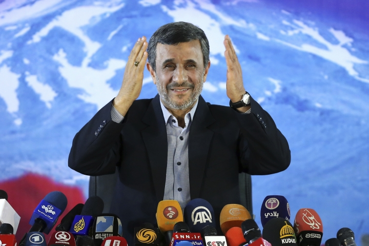 "FILE- In this April, 5, 2017 file photo, former Iranian President Mahmoud Ahmadinejad gives a press conference in Tehran, Iran. Ahmadinejad's quest to return to the spotlight now includes weighing in on a spat between President Donald Trump and basketball star LeBron James. Ahmadinejad used Twitter -- which is banned in Iran -- to write Sunday, Aug. 5, 2018 that: ""In my opinion everyone especially a President should love all, and not differentiate between them."" He added that he loved NBA greats James and Michael Jordan, as well as former Denver Nuggets player Mahmoud Abdul-Rauf. (AP Photo/Ebrahim Noroozi, File)"