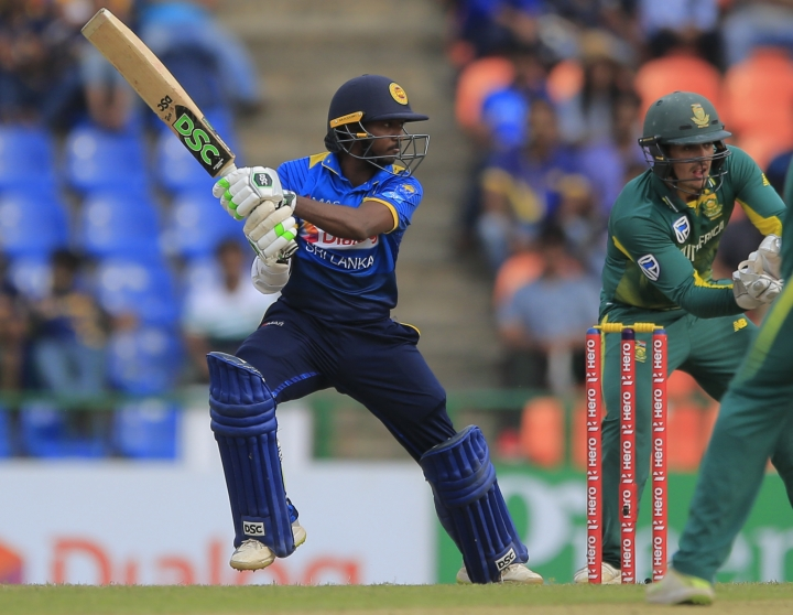 Sri Lanka's Akila Dananjaya bats against South Africa during their third one-day international cricket match in Pallekele, Sri Lanka, Sunday, Aug. 5, 2018. (AP Photo/Eranga Jayawardena)