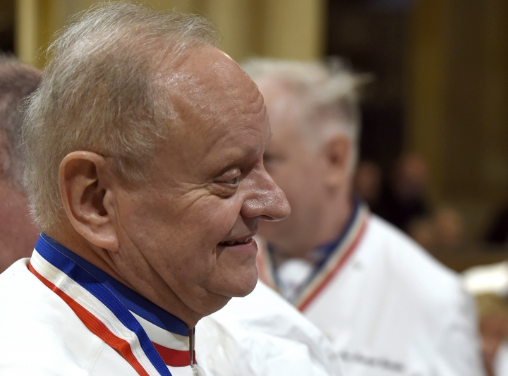 FILE - In this Jan.26, 2018 file photo, French chef Joel Robuchon attends the funeral ceremony for late French chef Paul Bocuse at the Saint-Jean cathedral, in Lyon, central France. French master chef Joel Robuchon has died at the age of 73. (Philippe Desmazes/Pool Photo via AP, File)