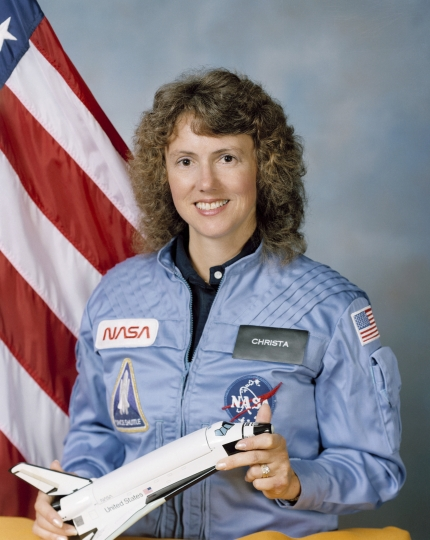 This Sept. 26, 1985 photo made available by NASA shows astronaut Sharon Christa McAuliffe. The high school teacher from Concord, N.H., never got to teach from space. She perished during the 1986 launch of shuttle Challenger, along with her six crewmates. (NASA via AP)