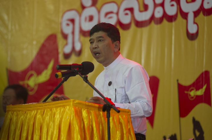 Min Ko Naing, a leader of Myanmar's prominent 88 Generation Students Group, speaks during a ceremony marking the 30th anniversary of the pro-democracy uprising, Wednesday, Aug. 8, 2018, in Yangon, Myanmar. August 8 marks the 30th anniversary of the nation-wide protests for democracy against the then military dictatorship. The protest was referred to as 8-8-88 (four eights) uprising- in which more than a million people took to the streets. The military government took power in Sept. 1988 after crushing the democracy movement killing several hundred. (AP Photo/Thein Zaw)