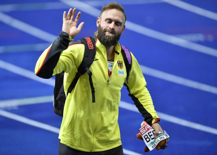 Germany's Robert Harting leaves the stadium after the men's discus throw final at the European Athletics Championships in Berlin, Germany, Wednesday, Aug. 8, 2018. (AP Photo/Martin Meissner)