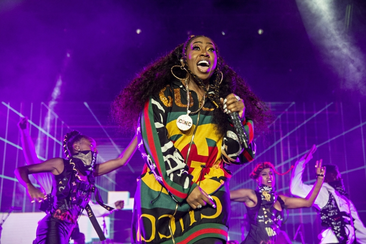 "FILE - In this July 7, 2018 file photo, Missy Elliott performs at the 2018 Essence Festival in New Orleans. A Rhode Island woman's karaoke version of Missy Elliott's hit song ""Work It"" has become an internet sensation, even drawing praise from Elliott herself. Mary Halsey, of West Warwick, recently performed a version of the 2002 hit at an outdoor party at a park and posted the performance on her Facebook page. Elliott reposted Halsey's video on Twitter and Instagram and wrote: ""I just found out I have a FUNKY WHITE SISTER."" (Photo by Amy Harris/Invision/AP, File)"