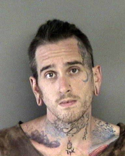 FILE - This June 8, 2017, file photo released by the Alameda County Sheriff's Office shows Max Harris at the Santa Rita Jail in Dublin, Calif. Two men who pleaded no contest to 36 charges of involuntary manslaughter will face the family members of those who died in a fire at an illegally converted Northern California warehouse. A two-day sentencing hearing for Derick Almena and Harris is scheduled to begin Thursday, Aug. 9, 2018, in Oakland, Calif. (Alameda County Sheriff's Office via AP, File)