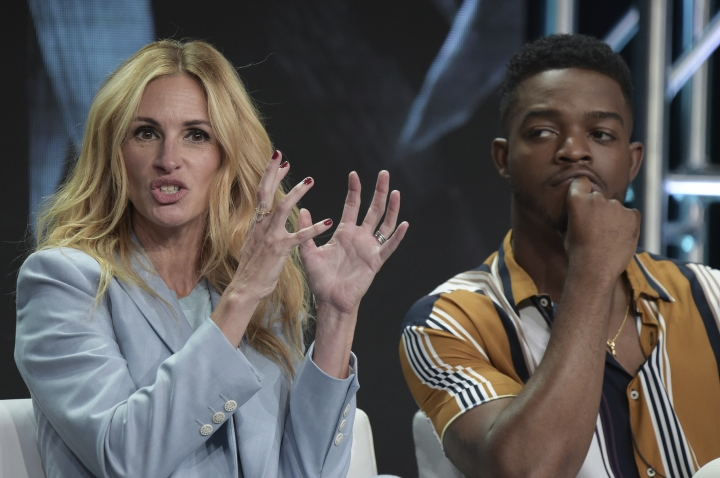 "Julia Roberts, left, and Stephan James participate in the ""Homecoming"" panel during the TCA Summer Press Tour on Saturday, July 28, 2018, in Beverly Hills, Calif. (Photo by Richard Shotwell/Invision/AP)"