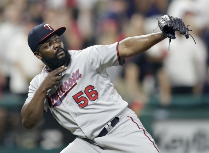 Minnesota Twins relief pitcher Fernando Rodney celebrates after the Twins defeated the Cleveland Indians 3-2 in a baseball game Wednesday, Aug. 8, 2018, in Cleveland. (AP Photo/Tony Dejak)