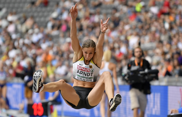 Germany's Mareike Arndt makes an attempt in the long jump of the women's heptathlon at the European Athletics Championships at the Olympic stadium in Berlin, Germany, Friday, Aug. 10, 2018. (AP Photo/Martin Meissner)