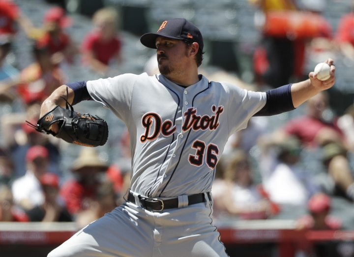 Detroit Tigers pitcher Blaine Hardy throws to the Los Angeles Angels during the second inning of a baseball game Wednesday, Aug. 8, 2018, in Anaheim, Calif. (AP Photo/Marcio Jose Sanchez)