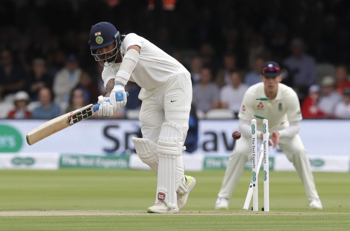 India's Murali Vijay is bowled by England's James Anderson during the second day of the second test match between England and India at Lord's cricket ground in London, Friday, Aug. 10, 2018. (AP Photo/Kirsty Wigglesworth)