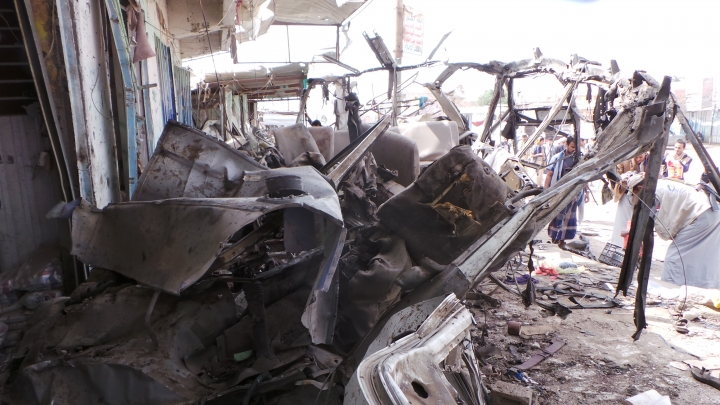 The wreckage of a bus remains at the site of an airstrike in Saada, Yemen on Friday, Aug. 10, 2018. Yemen's Shiite rebels are backing a United Nations' call for an investigation into a Saudi-led coalition airstrike in the country's north that killed dozens of people the previous day, including many children.(AP Photo/Kareem al-Mrrany)