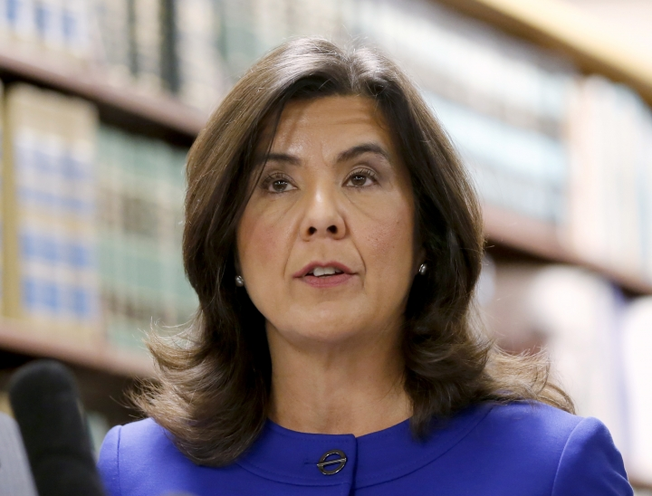 FILE - In this Nov. 24, 2015 file photo, Cook County State's Attorney Anita Alvarez talks to reporters in Chicago. Voters concerned with the killing of unarmed black people by police have made their voices heard from Ferguson to Cleveland to Chicago. The same night State's Attorney Anita Alvarez lost her election in Cook County, Illinois for her handling of the 2014 police shooting death of 17-year-old Laquan McDonald, two years ago, Cuyahoga County voters replaced prosecutor Tim McGinty for his response to the 2014 killing of 12-year-old Tamir Rice by a Cleveland police officer. (AP Photo/Charles Rex Arbogast, File)
