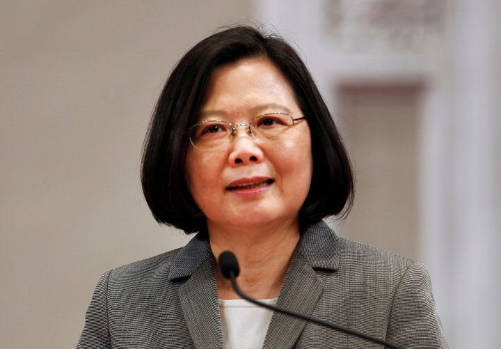 FILE - In this April 11, 2018 file photo, Taiwan's President Tsai Ing-wen attends a news conference in Taipei, Taiwan. When Taiwanese President Tsai Ing-wen departs Sunday, Aug. 12, 2018, for Latin America, she'll be traveling to a region she's already visited three times in two years. As Tsai crosses the halfway mark of her first four-year term, an eight-day swing through Paraguay and Belize is a reflection of how Taiwan's diplomatic isolation has worsened in the midst of a suffocating Chinese pressure campaign. (AP Photo/Chiang Ying-ying)