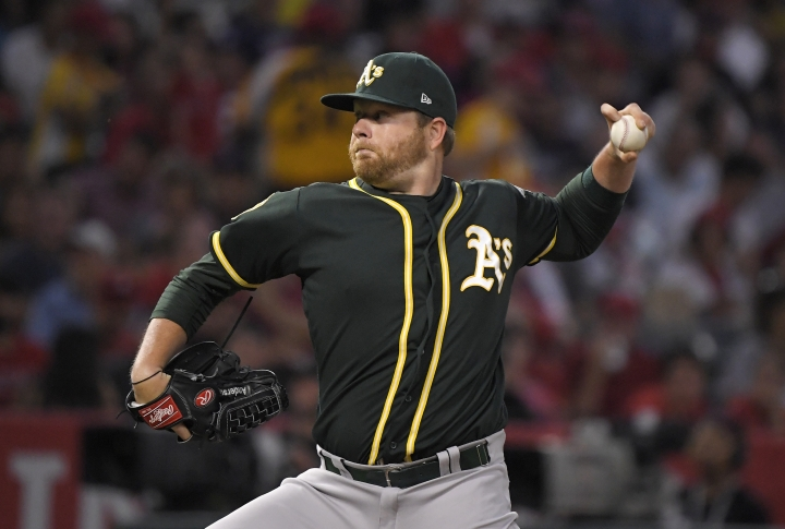 Oakland Athletics starting pitcher Brett Anderson throws during the first inning of the team's baseball game against the Los Angeles Angels on Friday, Aug. 10, 2018, in Anaheim, Calif. (AP Photo/Mark J. Terrill)