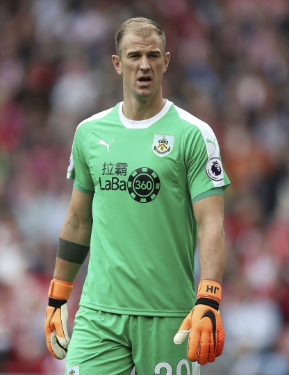 Burnley goalkeeper Joe Hart during the Premier League soccer match between Southampton and Burnley at St Mary's, Southampton, England. Sunday Aug. 12, 2018. (Andrew Matthews/PA via AP)