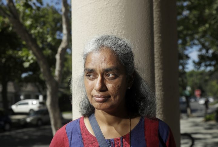"In this July 25, 2018 photo, Kalyanaraman Shankari poses for photos in Mountain View, Calif. An Associated Press investigation shows that using Google services on Android devices and iPhones allows the search giant to record your whereabouts as you go about your day. Shankari, a graduate researcher at UC Berkeley who connects commuting patterns with urban planners, noticed that her Android phone prompted her to rate a shopping trip to Kohl's. That happened even though she had turned off Google's ""location history"" setting, which according to the company should prevent it from remembering where a user has been. (AP Photo/Jeff Chiu)"