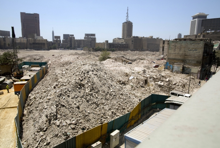 In this Monday, Aug. 13, 2018 photo, debris is all that is left of the Maspero neighborhood in downtown Cairo, Egypt. Egyptian authorities are demolishing the historical 19th century neighborhood in Cairo to make way for high-end housing and business development a stone's throw from the Nile, angering residents who say they have not been properly compensated. Maspero is named for French Egyptologist Gaston Maspero who helped found the Egyptian Museum. (AP Photo/Amr Nabil)