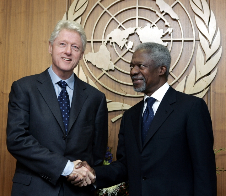 FILE - In this Wednesday, April 13, 2005 file photo former President Bill Clinton, the United Nations special envoy for tsunami recovery, meets U.N. Secretary General Kofi Annan, at U.N. headquarters. Annan, one of the world's most celebrated diplomats and a charismatic symbol of the United Nations who rose through its ranks to become the first black African secretary-general, has died. He was 80. (AP Photo/Richard Drew, File)