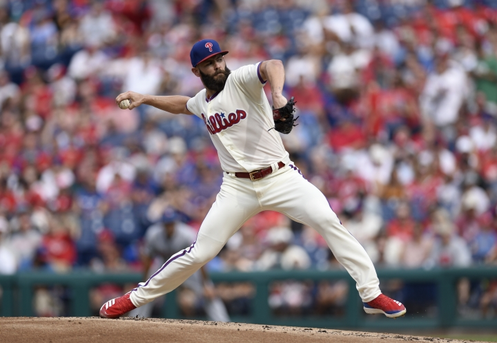Philadelphia Phillies starting pitcher Jake Arrieta throws during the second inning of a baseball game against the New York Mets, Saturday, Aug. 18, 2018, in Philadelphia. (AP Photo/Michael Perez)