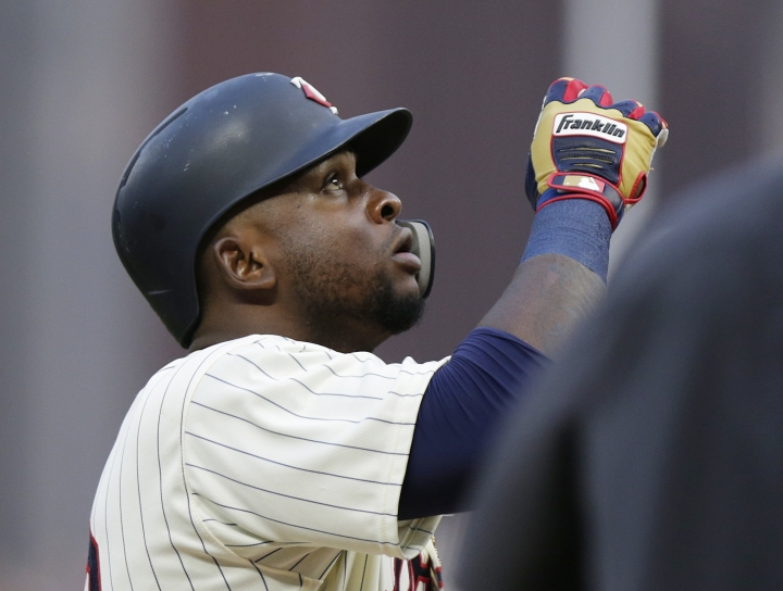 Minnesota Twins' Miguel Sano celebrates his home run against the Detroit Tigers in the third inning during a baseball game Saturday, Aug. 18, 2018, in Minneapolis. (AP Photo/Andy Clayton-King)