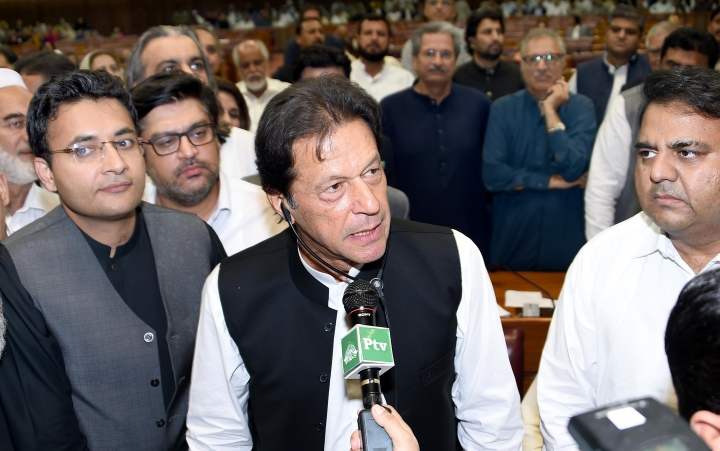 In this photo released by the National Assembly, the leader of Pakistan Tahreek-e-Insaf party Imran Khan,speaks at the National Assembly in Islamabad, Pakistan, Friday, Aug. 17, 2018. Pakistani lawmakers on Friday elected former cricket star and longtime politician Khan as the country's next prime minister in a step toward third straight transfer of power from one civilian government to another one. (National Assembly, via AP)