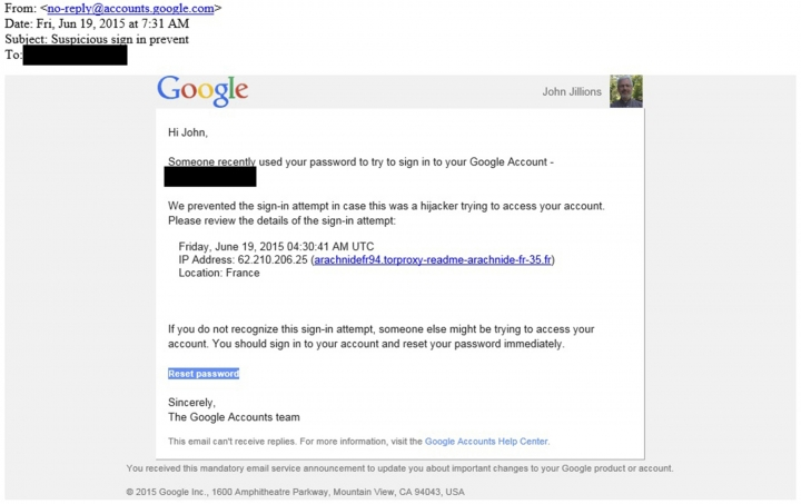 This image shows a portion of a June 2015 phishing email sent to John Jillions, the chancellor of the Orthodox Church in America. Although designed to look like it came from Google, an examination of the email using data supplied by the cybersecurity firm Secureworks shows that it was sent by the group of hackers indicted in July 2018 by the United States. Parts have been redacted to protect sensitive information. (AP Photo)