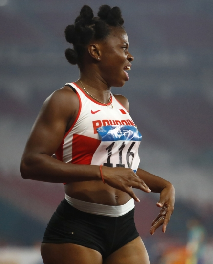 Bahrain's Edidiong Odiong reacts after winning the women's 200m final during the athletics competition at the 18th Asian Games in Jakarta, Indonesia, Wednesday, Aug. 29, 2018. (AP Photo/Bernat Armangue)