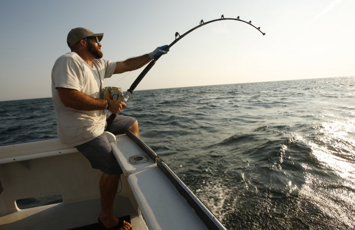 In this Monday, Aug. 6, 2018 photo, Andrew Lebel of Falmouth, Maine, battles an Atlantic bluefin tuna about 20 miles off the coast of southern Maine. The 320 lb. fish fought for about 45 minutes before it was hauled aboard the boat. (AP Photo/Robert F. Bukaty)