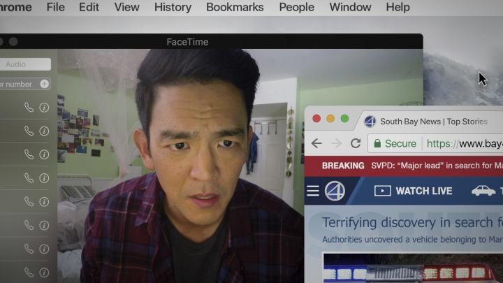 """This image released by Sony Pictures shows John Cho in Screen Gems' thriller """"Searching."""" Cho stars as a father trying to find his missing teenage daughter. (Sebastian Baron/Sony Pictures via AP)"""