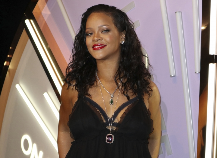 """FILE - In this May 10, 2018 file photo, singer and fashion icon Rihanna appears at an event to promote her new lingerie brand in New York. The singer will present her Savage x Fenty line of lingerie, undies and intimate accessories with an """"immersive experience"""" during Fashion Week in New York. (AP Photo/John Carucci, File)"""