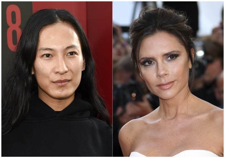 """This combination photo shows designer Alexander Wang at the world premiere of """"Ocean's 8"""" in New York on June 5, 2018, left, and designer Victoria Beckham at the 69th international film festival, in Cannes, France on May 11, 2016. Both Wang and Beckham will be absent from New York Fashion Week next month. (AP Photo)"""
