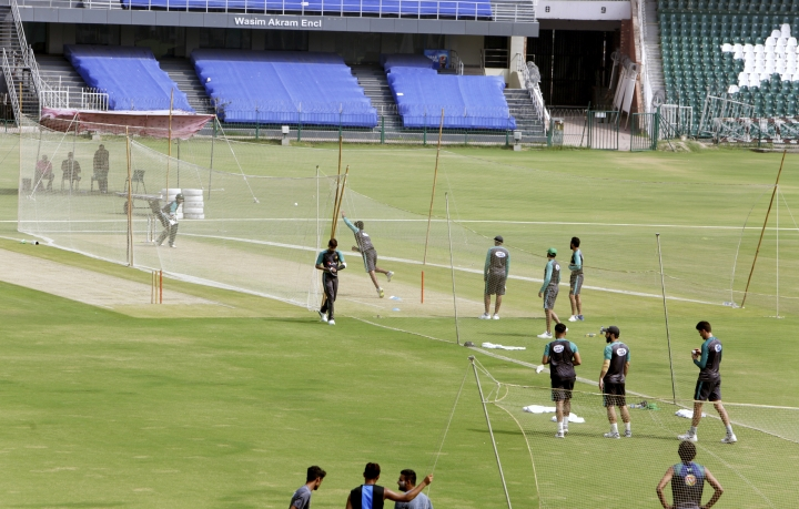 Players of Pakistani cricket team take part in a net practice in Lahore, Pakistan, Tuesday, Sept. 4, 2018. Ehsan Mani was officially elected unopposed as the chairman of Pakistan Cricket Board on Tuesday. Prime minister Imran Khan, who is also patron of the PCB, nominated Mani as the member of the Board of Governors last month after Najam Sethi resigned as the PCB chairman. (AP Photo/K.M. Chaudary)