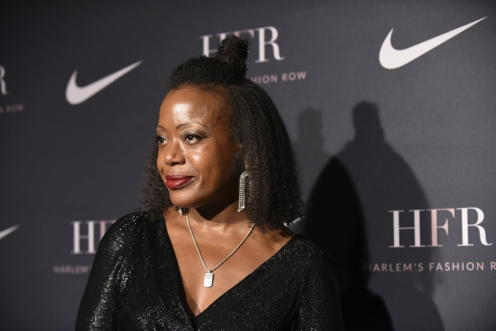 Designer Tracy Reese attends a fashion show and awards ceremony held by the Harlem Fashion Row collective and Nike before the start of New York Fashion Week, Tuesday, Sept. 4, 2018. (AP Photo/Diane Bondareff)