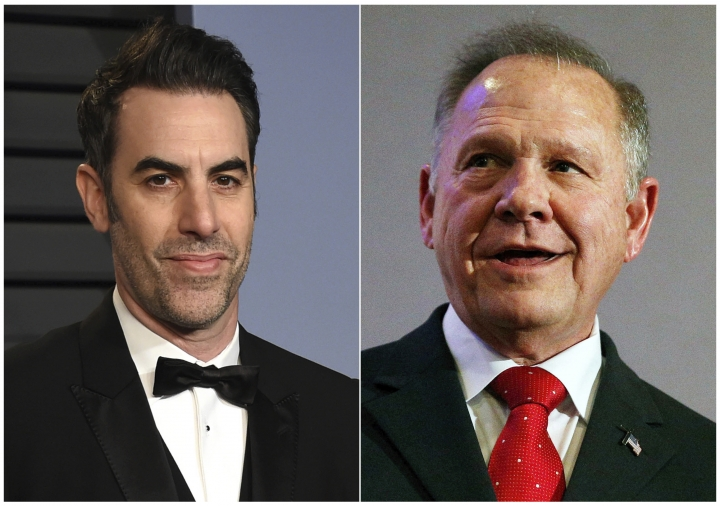 "This combination photo shows Sacha Baron Cohen, left, at the Vanity Fair Oscar Party in Beverly Hills, Calif. on March 4, 2018, and former Alabama Chief Justice and U.S. Senate candidate Roy Moore at a news conference in Birmingham, Ala., on Nov. 16, 2017. Moore is suing comedian Sacha Baron Cohen for defamation after being pranked on Cohen's television show, ""Who is America?"" The lawsuit filed Wednesday in Washington, D.C., accuses Cohen of smearing Moore's name and intentionally inflicting emotional distress. (AP Photo)"