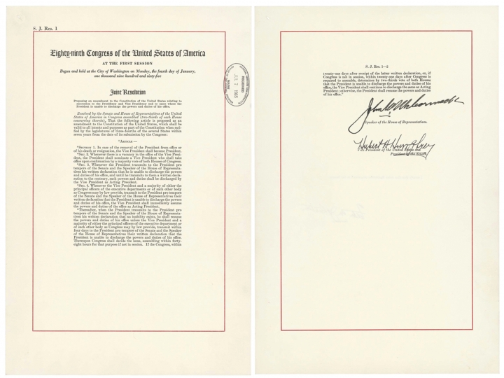 "This image shows a copy of the 25th Amendment, which allows the vice president to take over if the commander in chief is ""unable to discharge the powers and duties of his office."" A senior administration official referenced the amendment on Wednesday, Sept. 5, 2018, in an unsigned opinion piece published in The New York Times which described President Donald Trump's ""amorality"" and ""impetuous"" leadership style. (National Archives via AP)"